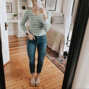 American Eagle Green & Gray Striped Long Sleeve